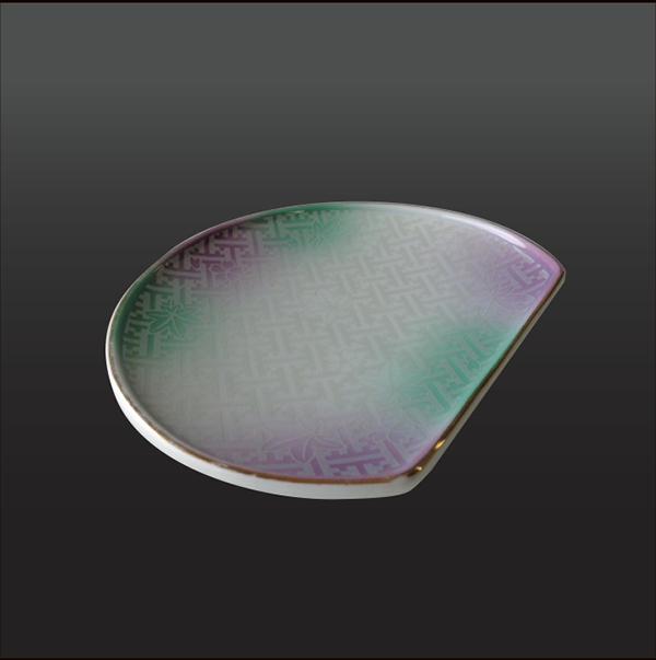 品 番:1011110002 商品名:銀彩地紋春秋 半月フルーツ皿 サイズ:160×125×H20