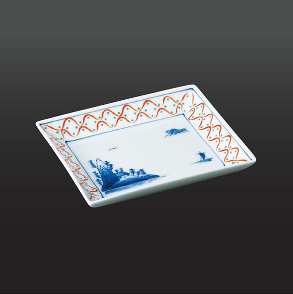 品 番:1011110006 商品名:赤地紋山水 フルーツ皿 サイズ:140×122×H25
