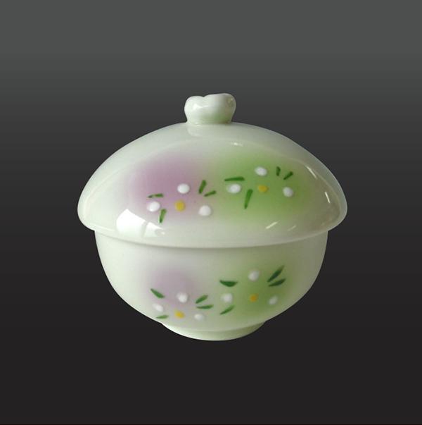 品 番:1011190003 商品名:二色吹白花 楕円蒸し碗 サイズ:98×89×H87