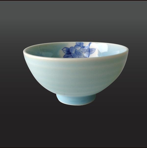 品 番:1011020003 商品名:青磁染付山茶花 茶碗 サイズ:105×H60