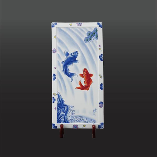 品 番:1011210005 商品名:昇鯉 飾り陶板 サイズ:165×H343