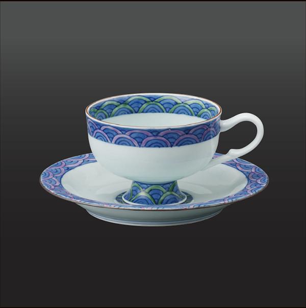 品 番:1011030002 商品名:内外青海波 紅茶碗皿 サイズ:皿151×H 碗65