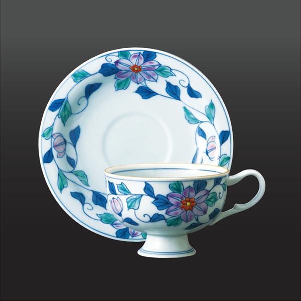 品 番:1011030005 商品名:唐草鉄仙 コーヒー碗皿 サイズ:皿150×H 碗65