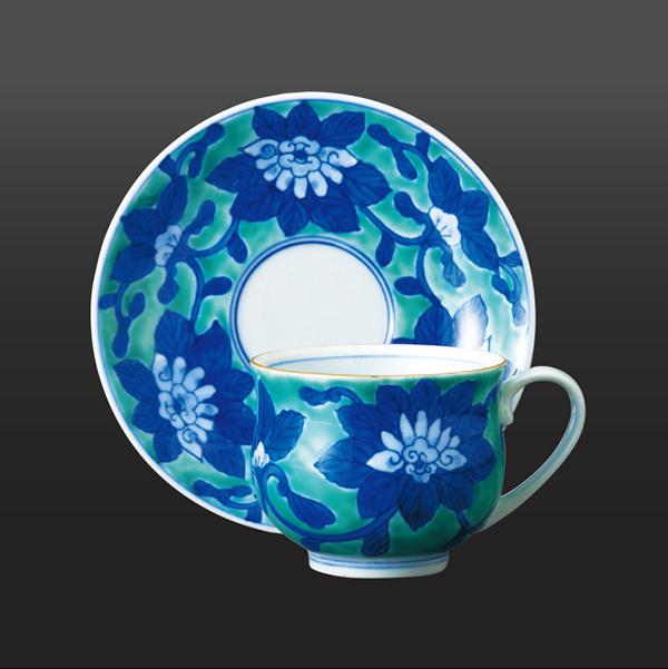 品 番:1011030006 商品名:グリーン濃唐花 コーヒー碗皿 サイズ:皿139×H 碗65