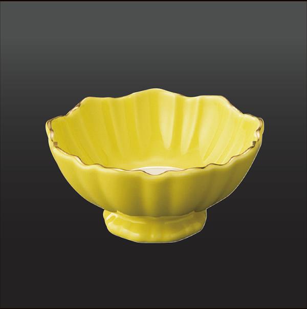 品 番:1011080002 商品名:黄釉掛分 菊割小付 サイズ:100×H50