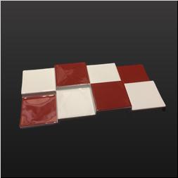 品 番:1541110002 商品名:段違い長角前菜9寸皿 錦天面赤市松 サイズ:280×137×H30