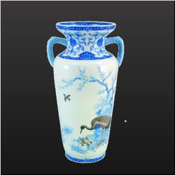 品 番:1051210002 商品名:染付鶴梅花文・花瓶 サイズ:H255