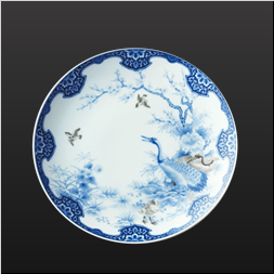 品 番:1051210005 商品名:染付鶴梅花文・大皿 サイズ:φ300