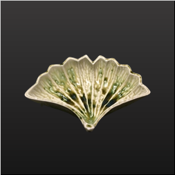 品 番:1541070007 商品名:銀杏型7寸向付 ビードロ釉(茎無) サイズ:220×167×H88