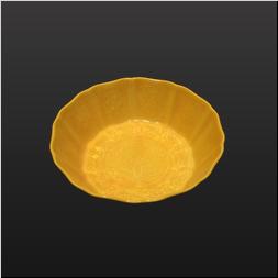 品 番:1541070012 商品名:文造4寸彫有向付 黄コーチ サイズ:129×129×H43