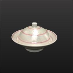 品 番:1061200003 商品名:白磁虹彩ピンクライン丸蓋物 サイズ:130×H80