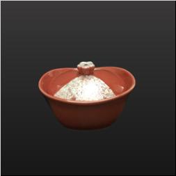 品 番:1061190004 商品名:濃ピンク釉虹彩リボン楕円花ツマミ蒸碗 サイズ:80×100×H73