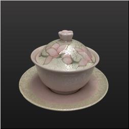 品 番:1061190007 商品名:うすピンク釉虹彩木蓮花ツマミ小反り蒸碗 サイズ:90×H80