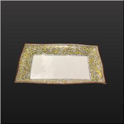品 番:1541140006 商品名:長角6.5寸焼物皿 縁錆錦黄唐草模様 サイズ:210×125×H35