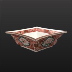 品 番:1571070004 商品名:菱型向付 赤間取兎鳥 サイズ:187×160×H49