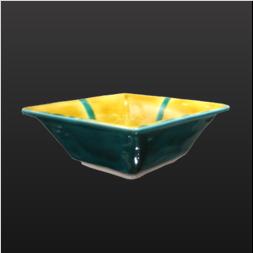 品 番:1571100003 商品名:菱型小鉢 黄 緑交ち サイズ:152×114×H45