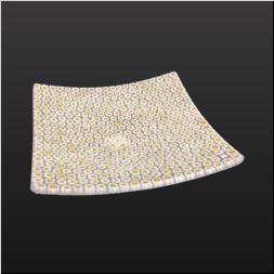品 番:1071170004 商品名:モザイクスクエアプレート14cm(イエロー×ホワイト) サイズ:140×140×H25